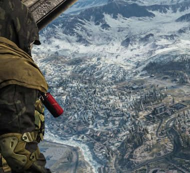 Call of Duty: Warzone character preparing to parachute over the battlefield