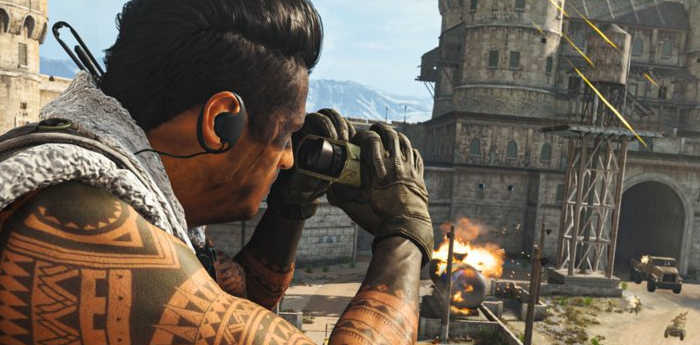 A Call of Duty Warzone character surveying the battle field.