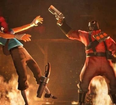 Team Fortress Pyro shoots an enemy Scout in the face with his flare gun.