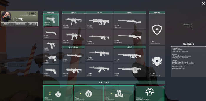 A screenshot of the game - Valorant Weapons you can buy