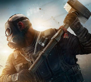Rainbow Six Siege character with a hammer breaking glass.